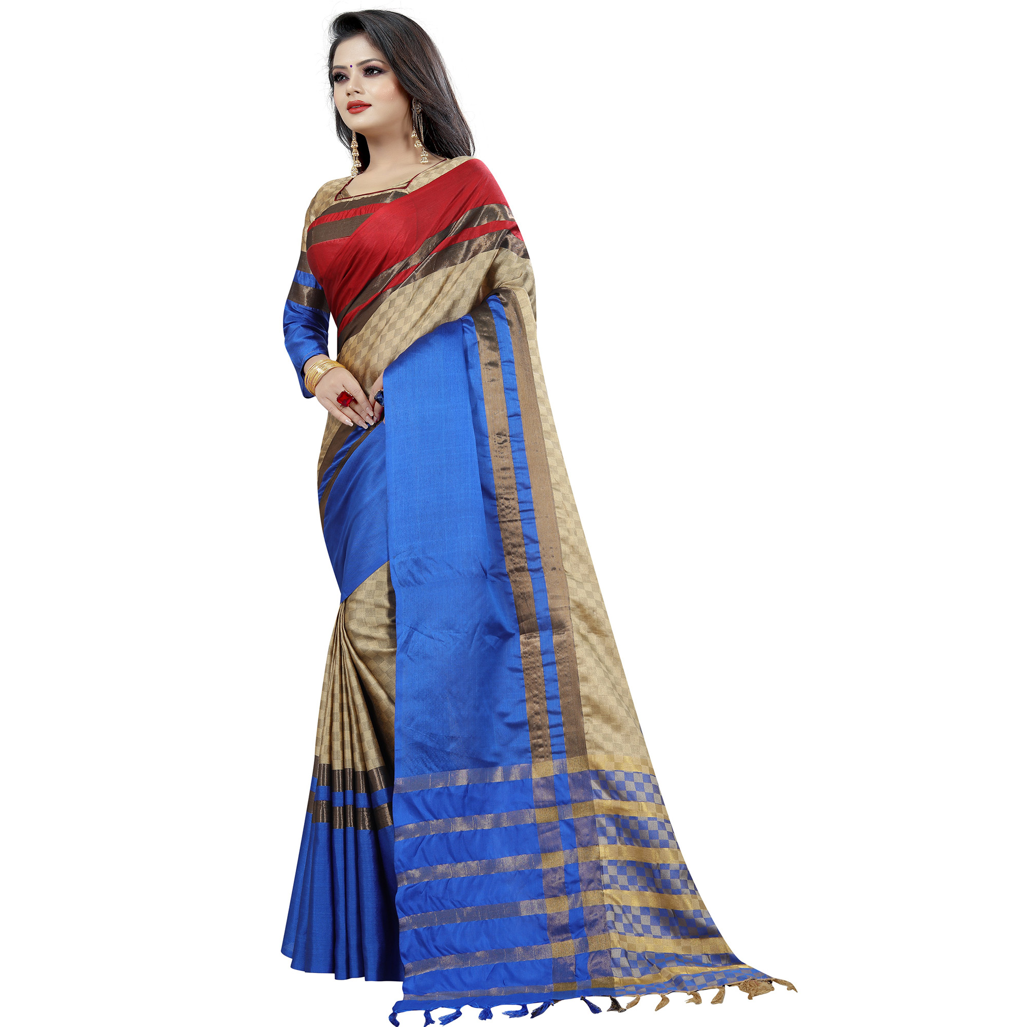 Magnetic Chiku-Blue Colored Festive Wear Cotton Saree