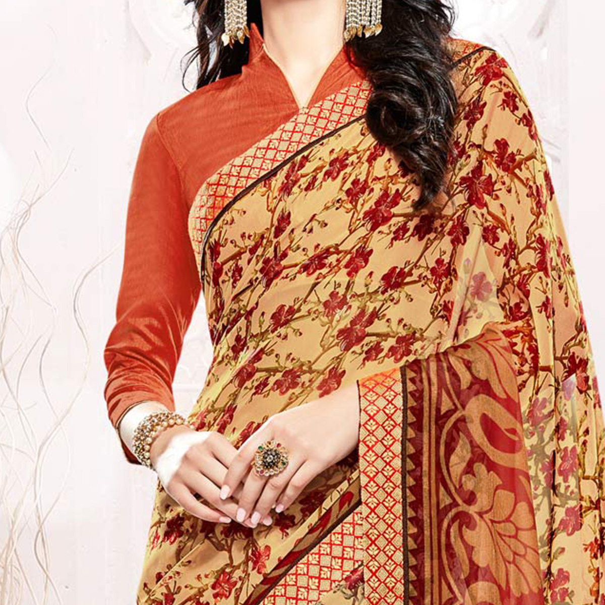 Cream Georgette Printed Partywear Saree
