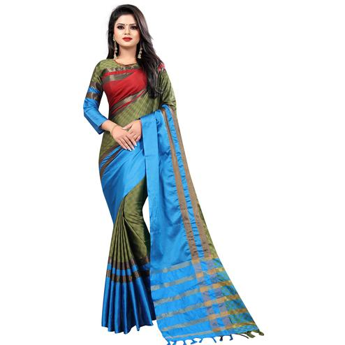 Attractive Mehendi-Blue Colored Festive Wear Cotton Saree