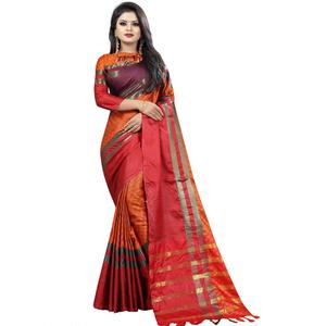 Eye-Catching Orange Colored Festive Wear Cotton Saree
