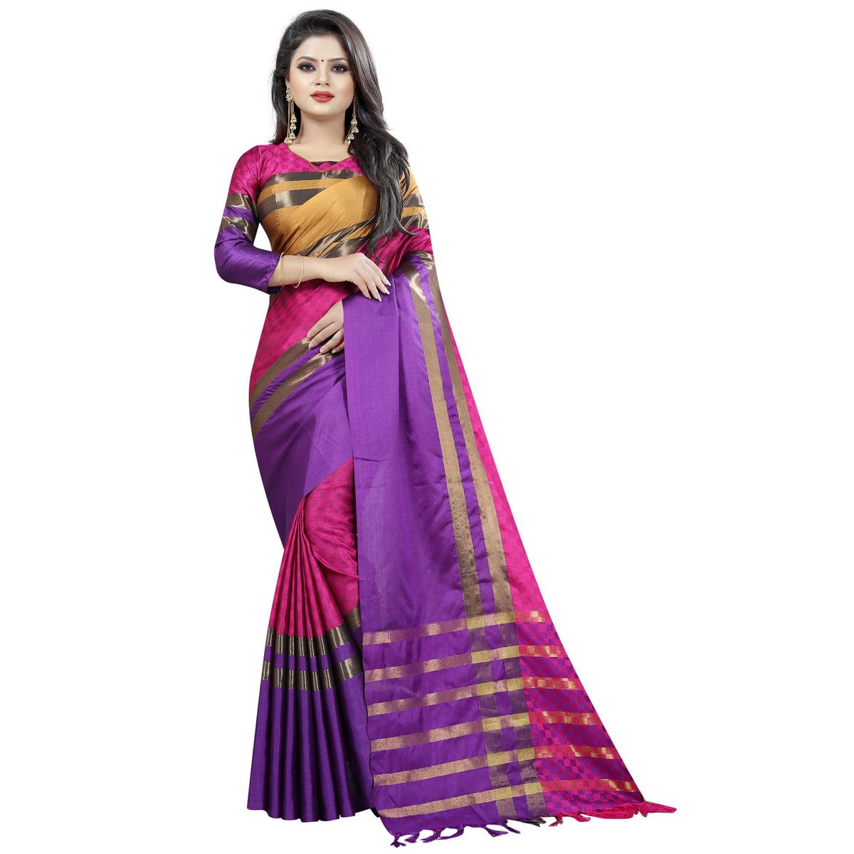 Groovy Pink Colored Festive Wear Cotton Saree