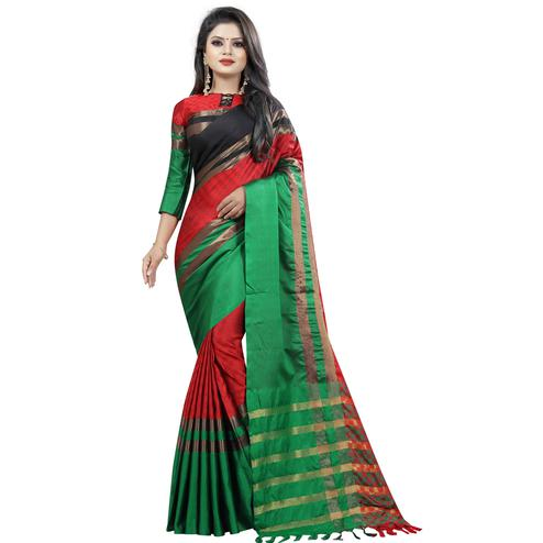 Lovely Red-Green Colored Festive Wear Cotton Saree