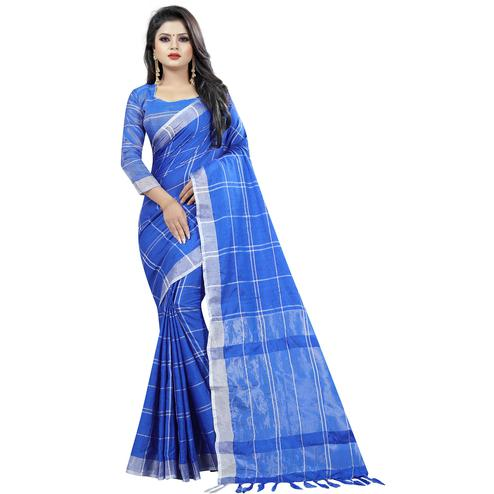 Classy Blue Colored Festive Wear Cotton Linen Saree