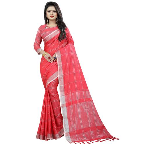 Stunning Pink Colored Festive Wear Cotton Linen Saree