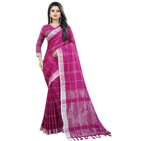 Gorgeous Magenta  Colored Festive Wear Cotton Linen Saree
