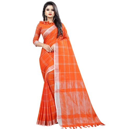 Glorious Orange Colored Festive Wear Cotton Linen Saree