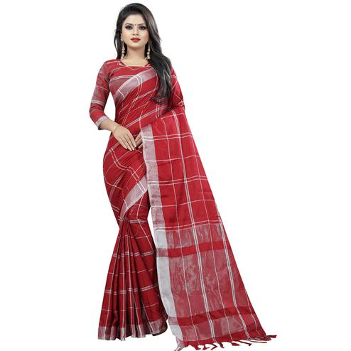 Gleaming Maroon Colored Festive Wear Cotton Linen Saree