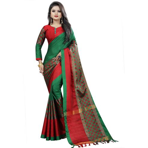 Blooming Green Colored Festive Wear Cotton Saree