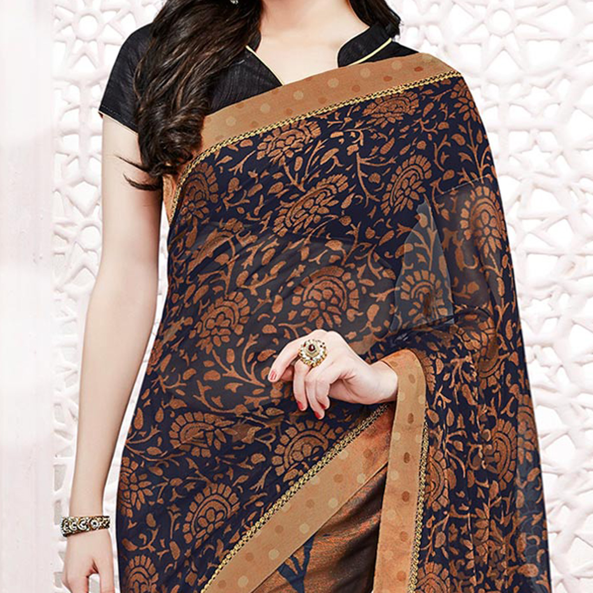 Brown-Blue Georgette Printed Partywear Saree