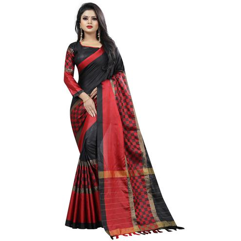 Demanding Black Colored Festive Wear Cotton Saree