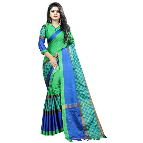 Desiring Green Colored Festive Wear Cotton Saree