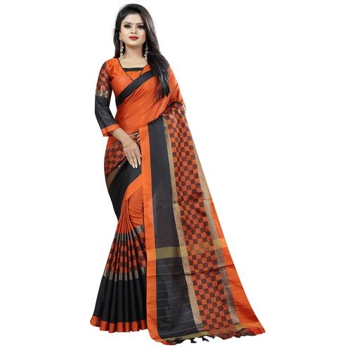 Marvellous Orange Colored Festive Wear Cotton Saree