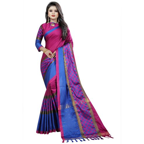 Surpassing Magenta Colored Festive Wear Cotton Saree