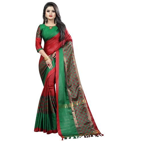 Opulent Red Colored Festive Wear Cotton Saree