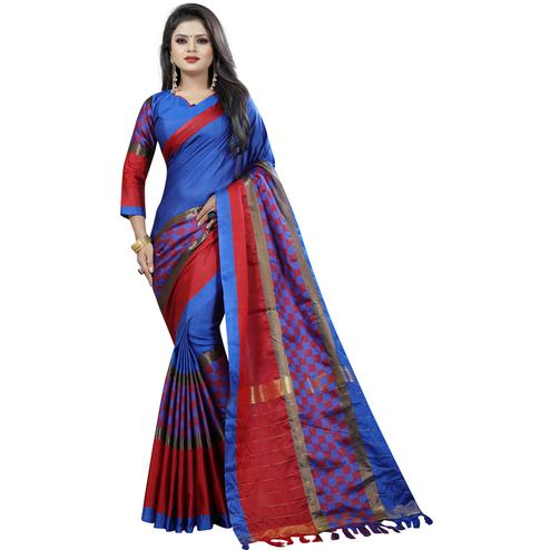 Appealing Blue Colored Festive Wear Cotton Saree