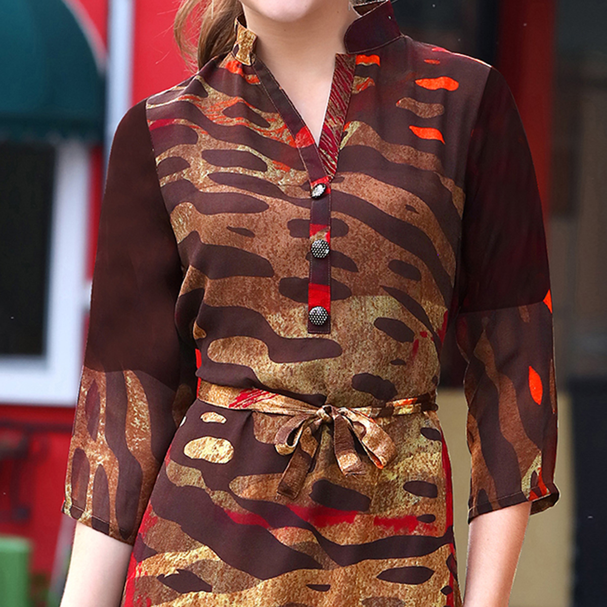 Attractive Brown-Multi Colored Partywear Printed Georgette Kurti