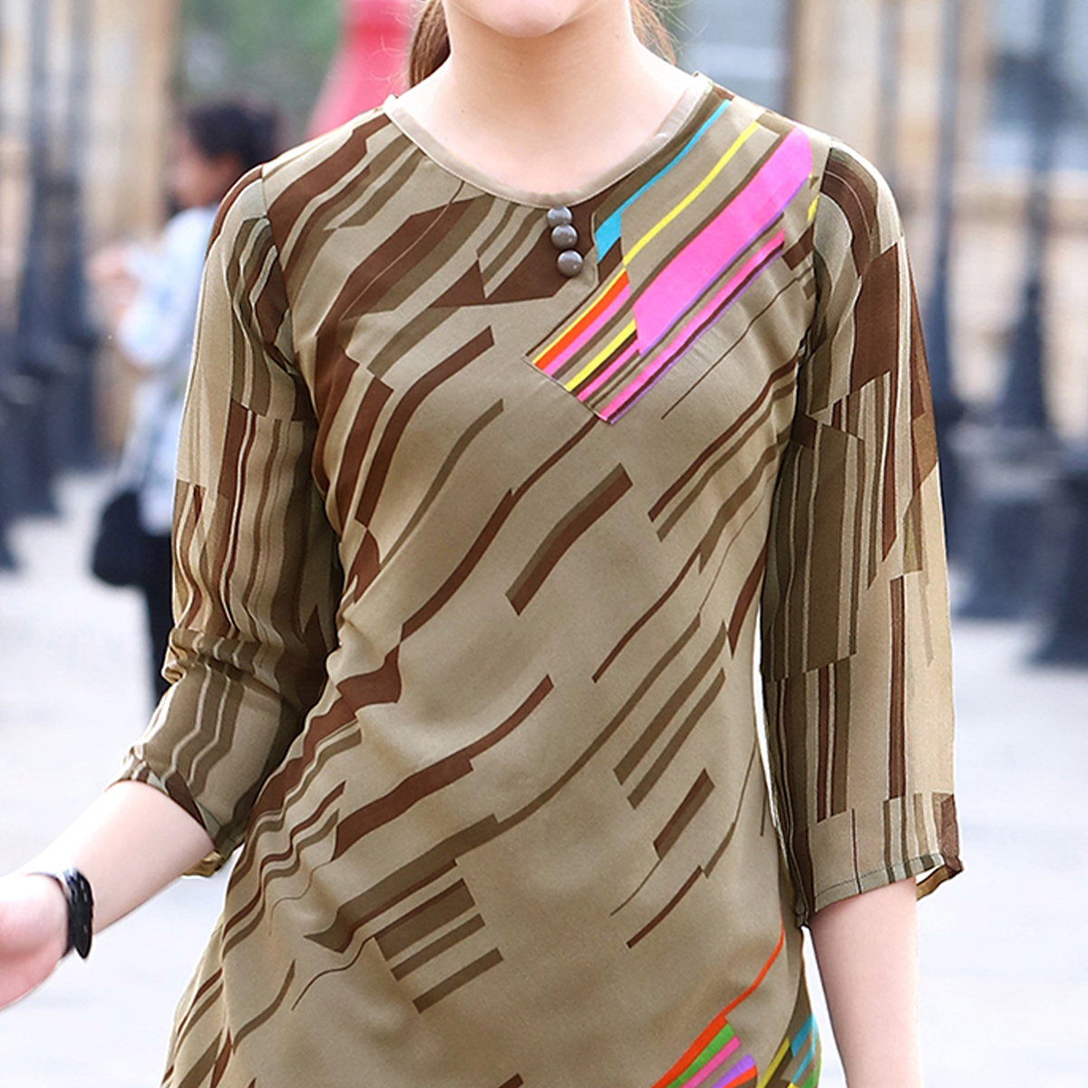 Glorious Light Olive Green Colored Partywear Printed Georgette Kurti