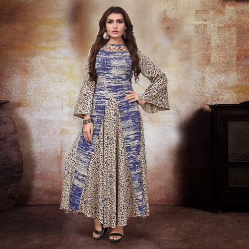 Amazing Cream-Blue Colored Party Wear Printed Fancy Heavy Rayon Kurti