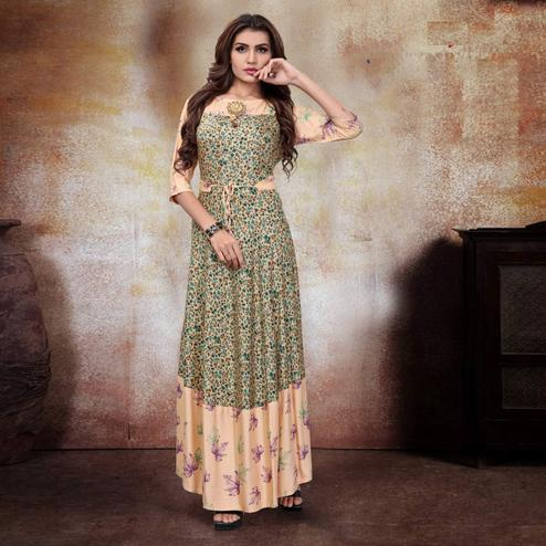 Exotic Peach-Green Colored Party Wear Printed Fancy Heavy Rayon Kurti