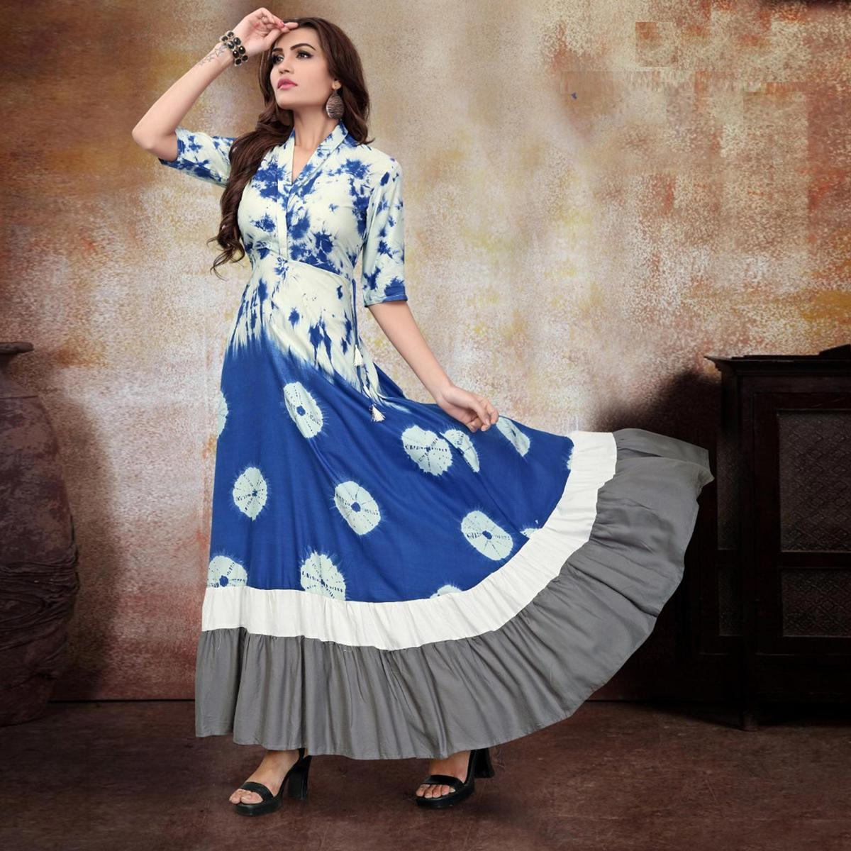 Majesty White-Blue Colored Party Wear Printed Fancy Heavy Rayon Kurti