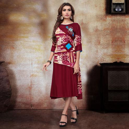 Attractive Maroon Colored Party Wear Printed Fancy Heavy Rayon Kurti
