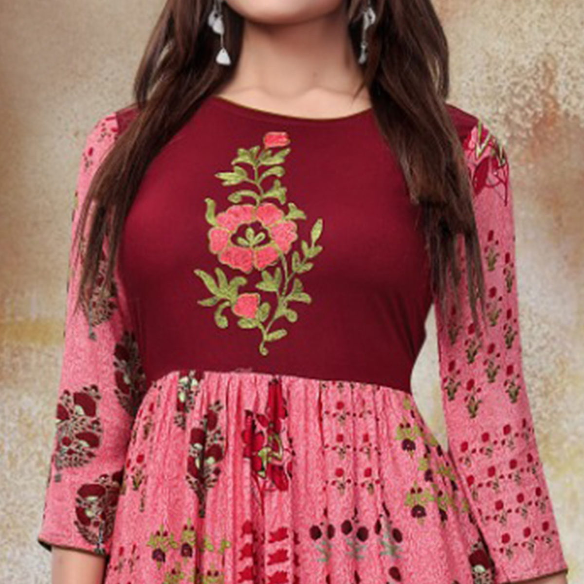 Beautiful Pink Colored Party Wear Printed Fancy Heavy Rayon Kurti
