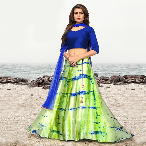 Attractive Bright Green Colored Party Wear Shibori Printed Satin Lehenga