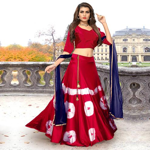 Beautiful Red Colored Party Wear Shibori Printed Satin Lehenga