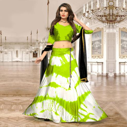 Gorgeous Bright Green-White Colored Party Wear Shibori Printed Satin Lehenga