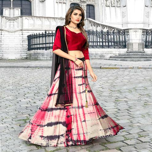 Classy Multicolored Party Wear Shibori Printed Satin Lehenga