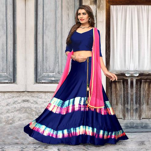 Glorious Blue Colored Party Wear Shibori Printed Satin Lehenga