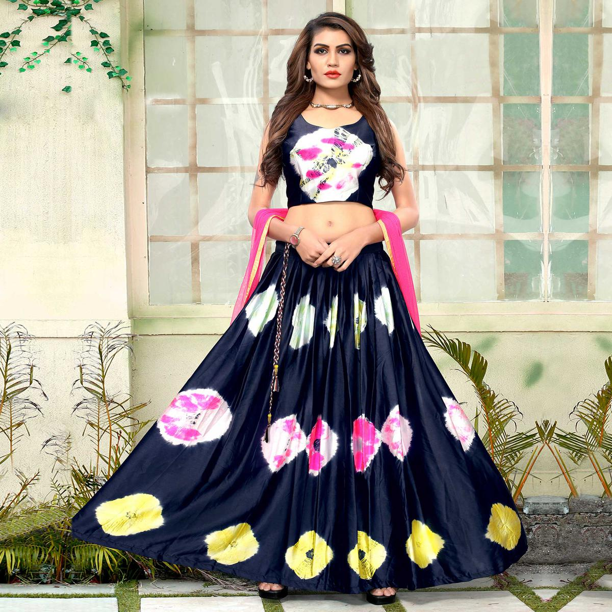 Graceful Navy Blue Colored Party Wear Shibori Printed Satin Lehenga