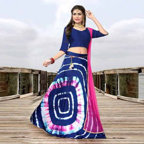 Lovely Royal Blue Colored Party Wear Shibori Printed Satin Lehenga