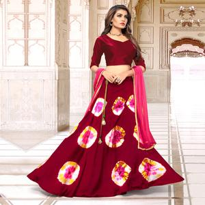 Pretty Maroon Colored Party Wear Shibori Printed Satin Lehenga