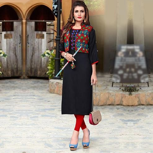 Dazzling Black Colored Festive Wear Rayon Kurti