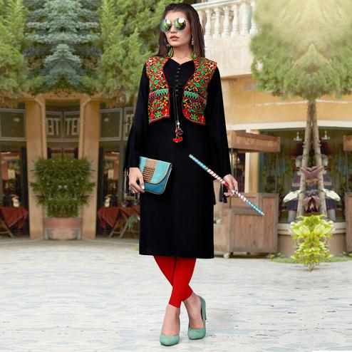 Breathtaking Black Colored Festive Wear Rayon Kurti