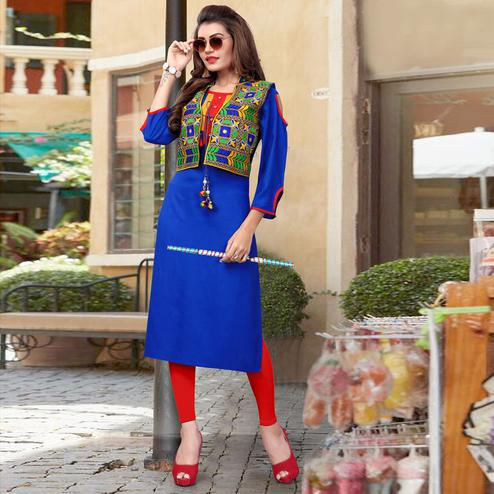 Innovative Blue Colored Festive Wear Rayon Kurti