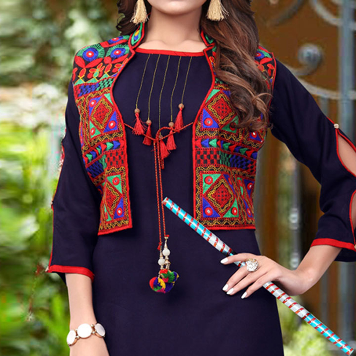 Gleaming Navy Blue Colored Festive Wear Rayon Kurti