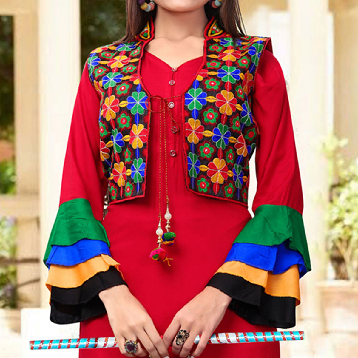 Arresting Red Colored Festive Wear Rayon Kurti