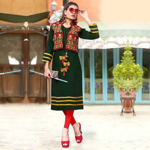 Exceptional Dark Green Colored Festive Wear Rayon Kurti
