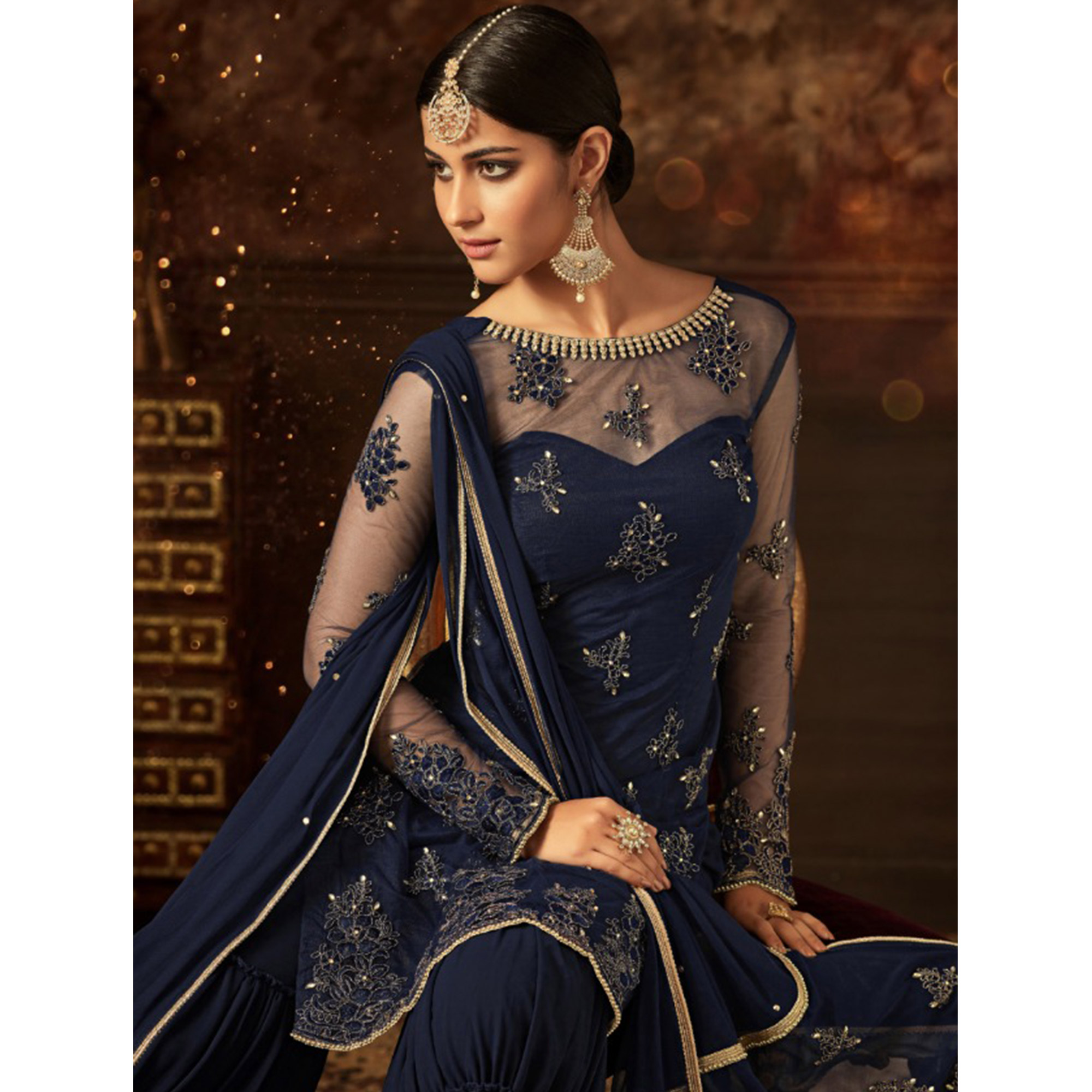 Groovy Blue Colored Party Wear Embroidered Net Palazzo Suit