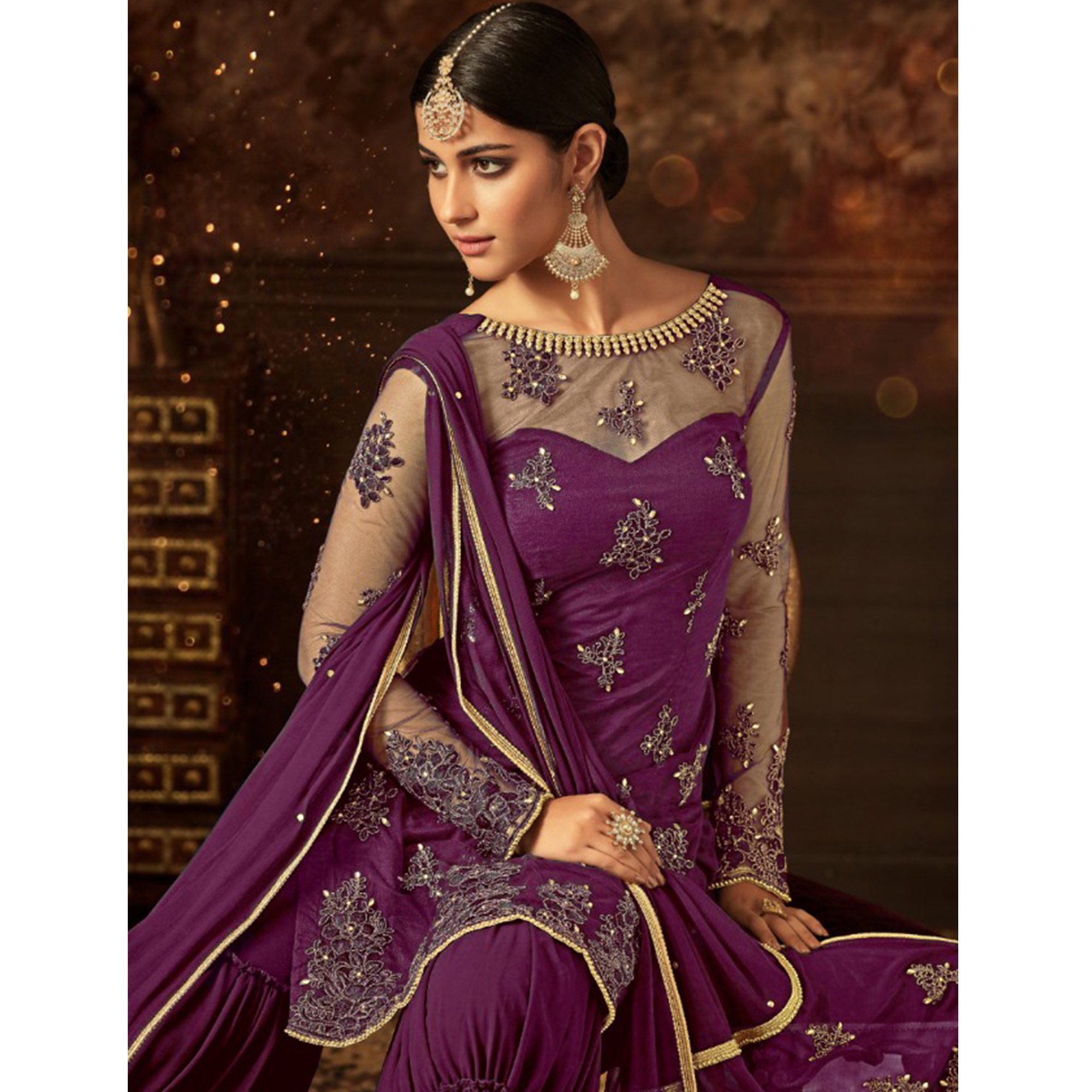 Prominent Purple Colored Party Wear Embroidered Net Palazzo Suit