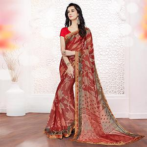Red Printed Partywear Georgette Saree