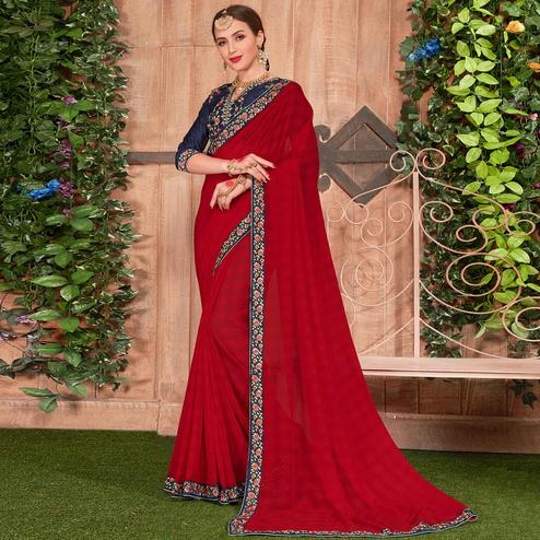 Classy Red Colored Party Wear Embroidered Cotton Silk Saree