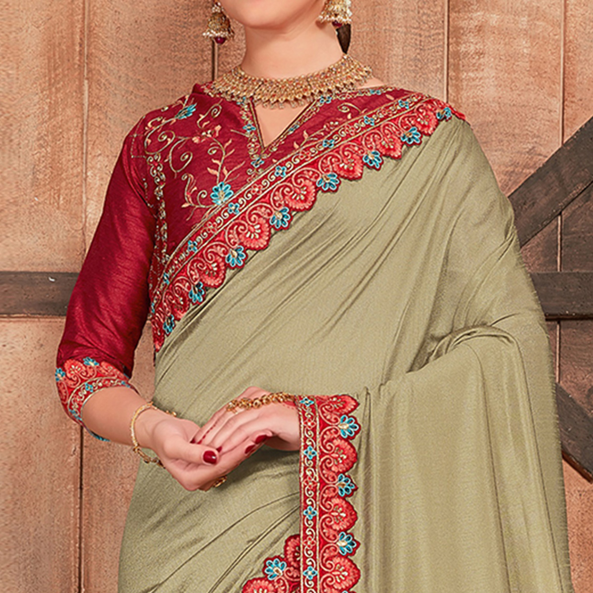 Glorious Light Olive Green Colored Party Wear Embroidered Cotton Silk Saree