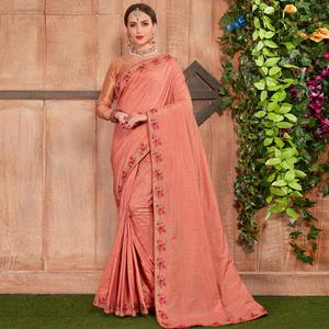 Graceful Peach Colored Party Wear Embroidered Cotton Silk Saree