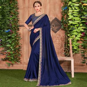 Lovely Blue Colored Party Wear Embroidered Cotton Silk Saree
