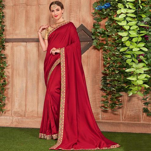 Pretty Maroon Colored Party Wear Embroidered Cotton Silk Saree