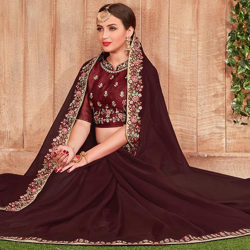 Charming Brown Colored Party Wear Embroidered Cotton Silk Saree