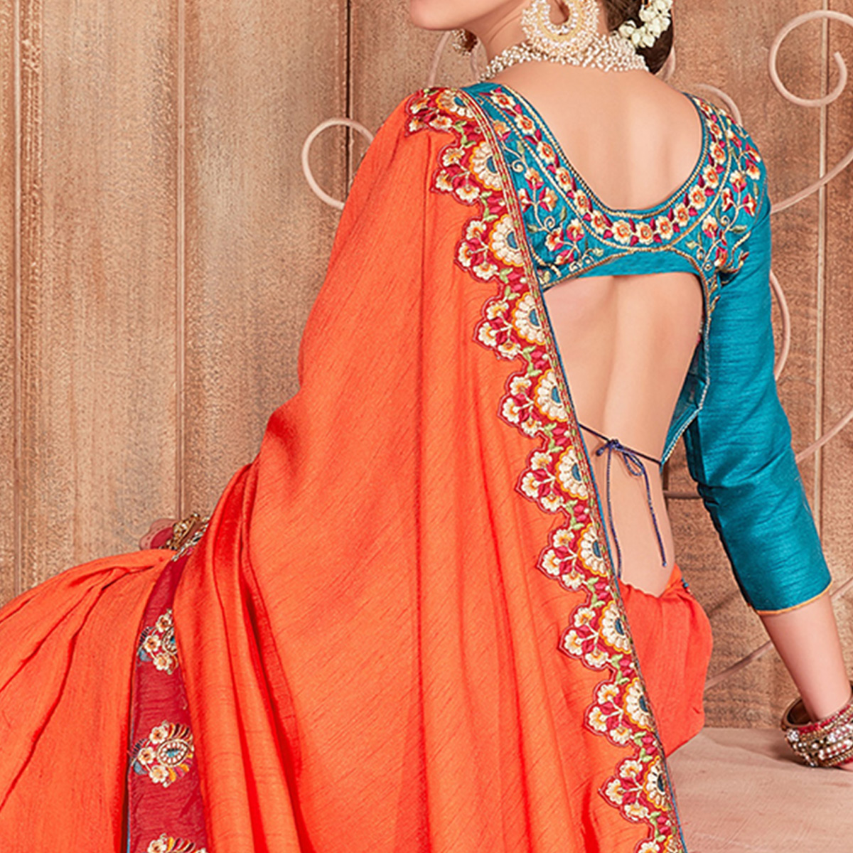 Delightful Orange Colored Party Wear Embroidered Cotton Silk Saree